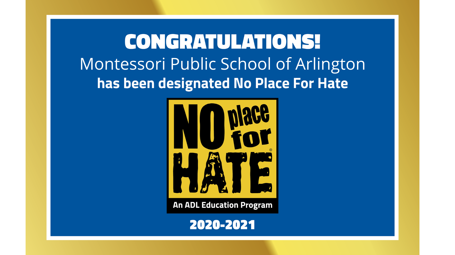 """MPSA is a """"No Place for Hate®"""" School"""